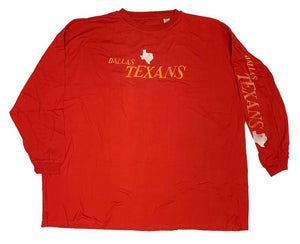 Team Apparel DALLAS TEXANS Long Sleeve Big Man's Throwback Tee Shirt Closeout