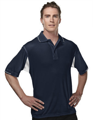 Tri-Mountain Men's 2-Tone 100% Poly Waffle Knit Polo-1