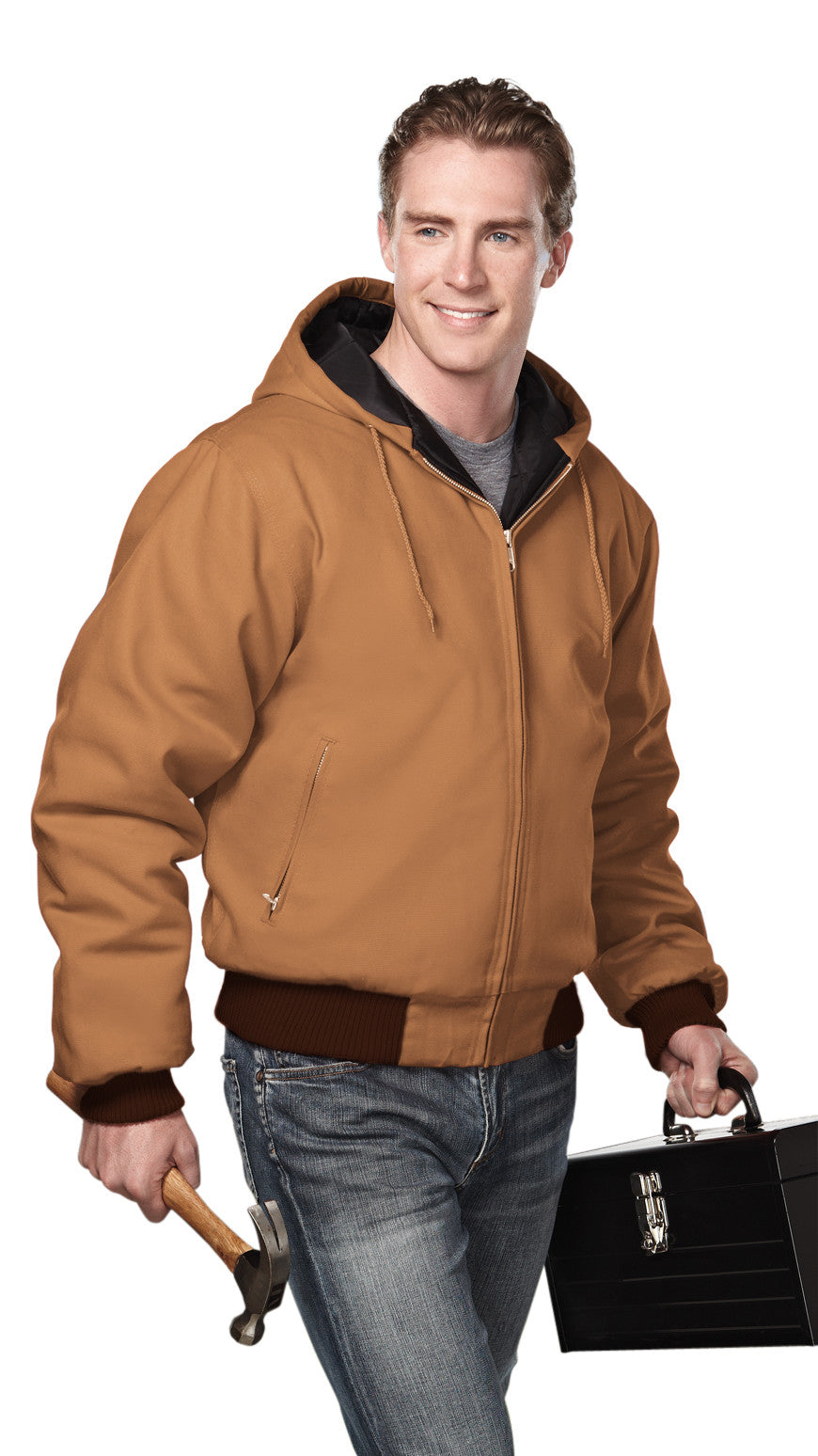 Tri-Mountain Men's 12oz Hooded Canvas Jacket-1