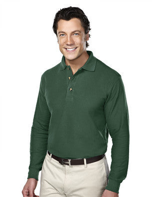 Tri-Mountain Men's 8.2oz 60/40 Long Sleeve Pique Polo Shirt-1