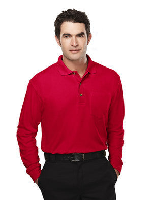 Tri-Mountain Men's 60/40 Long Sleeve Pique Polo W/Pocket-1