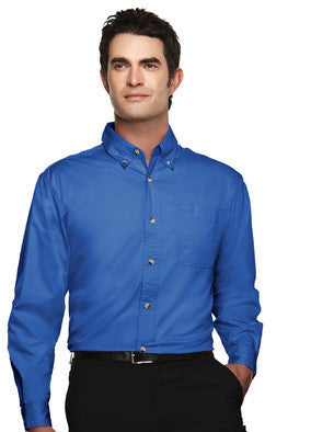 Tri-Mountain Men's Easy Care Long Sleeve Twill Shirt-1