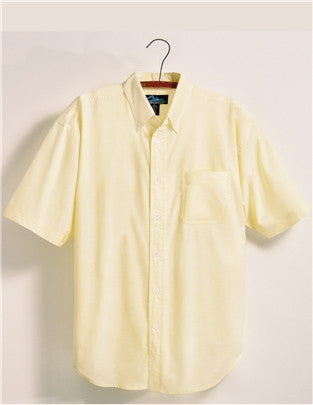 Tri-Mountain Men's Short Sleeve 60/40 Button Down Oxford Dress Shirt-1