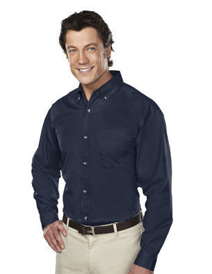Tri-Mountain Men's 60/40 Stain-Resistant Long Sleeve Twill Shirt-1