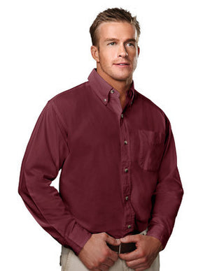 Tri-Mountain Men's 100% Cotton Soft Twill Shirt With Pocket