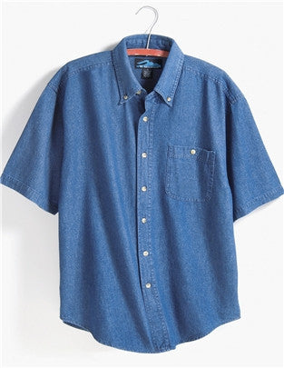Tri-Mountain Short Sleeve Stonewashed Denim Shirt-1
