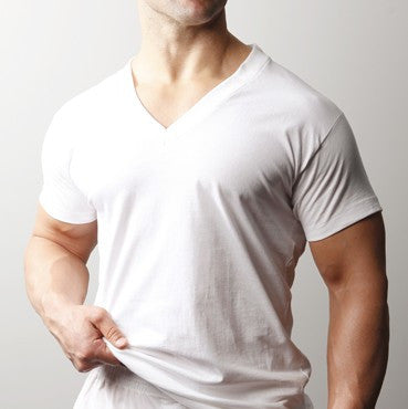 Players WHITE TALL 2 COTTON V-NECK SHIRTS PLAYERS SIZED LT TO 6XLT