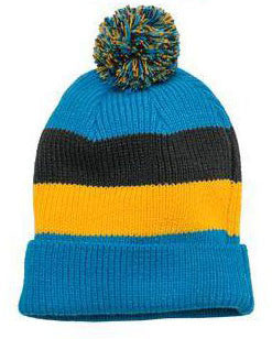 District Brand Vintage Striped Beanie With Removable Pom