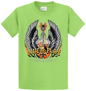 Live To Play - Winged Guitar With Iron Cross Printed Tee Shirt