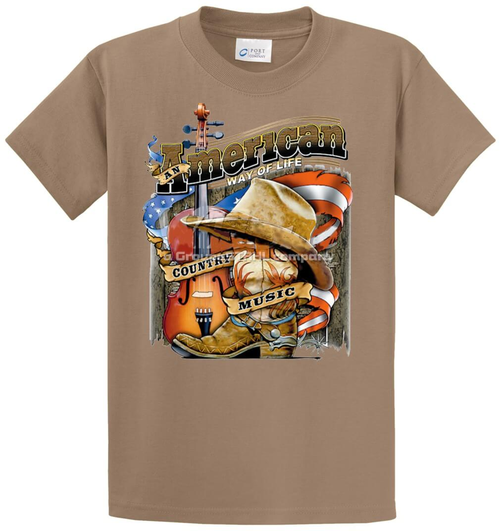 American Way Of Life-Cty Music  Printed Tee Shirt-1