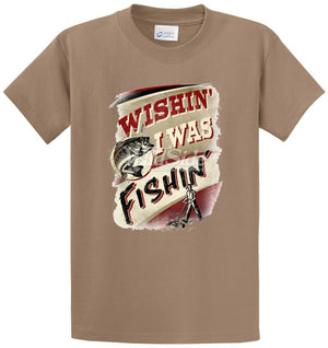 Wishin' I Was Fishin Printed Tee Shirt