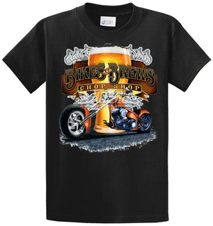 Bikes And Brews Chop Shop Printed Tee Shirt
