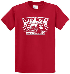Ratty Rod'S Speed Shop - Hot Rods,-Racers-Customs Printed Tee Shirt