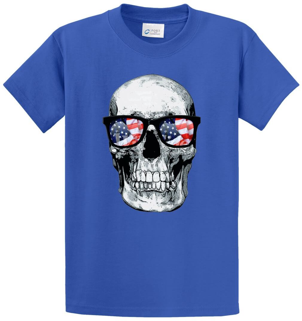 Skull With U.S.A. Flag Glasses Printed Tee Shirt-1