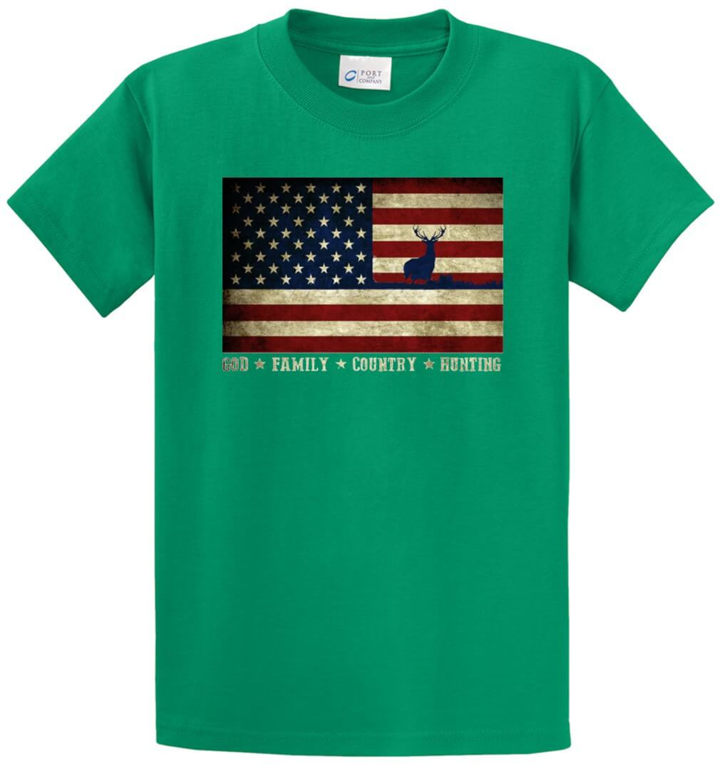 God Family Country Hunting U.S.Flag With Deer Printed Tee Shirt-1