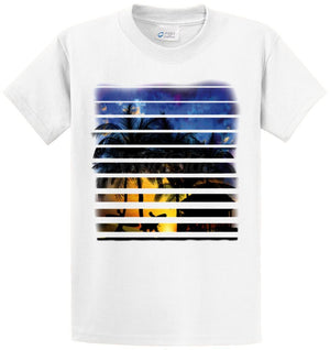 Beach Sunset Surfers Walking Printed Tee Shirt