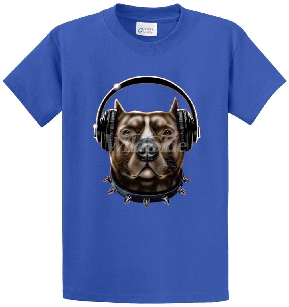Pitbull Wearing Headphones Printed Tee Shirt-1