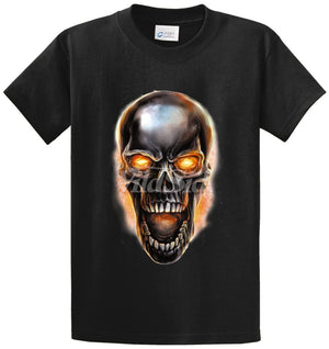 Metal Skull With Fire Printed Tee Shirt