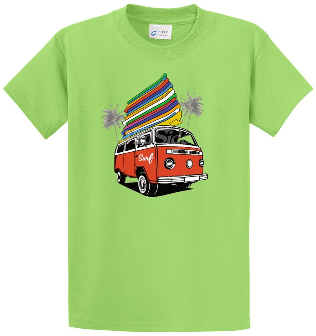 Surf Microbus With 17 Surfboards Printed Tee Shirt-1
