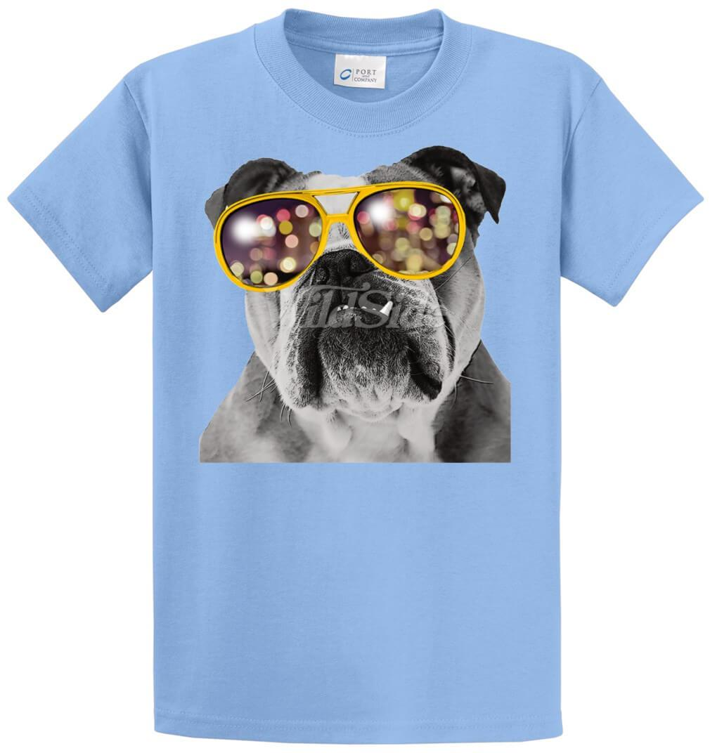 Bulldog Wearing Glasses Printed Tee Shirt-1