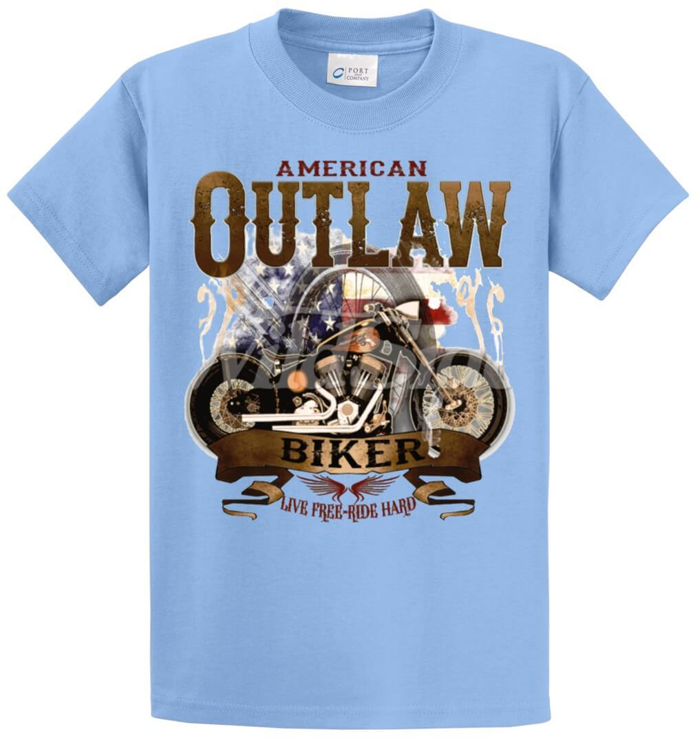 Outlaw Biker Live Free & Ride Hard Printed Tee Shirt-1