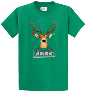 Reindeer Christmas Sweater Printed Tee Shirt