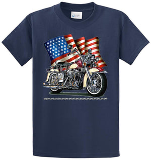 Wavy Flag, Bike, & Chain Printed Tee Shirt