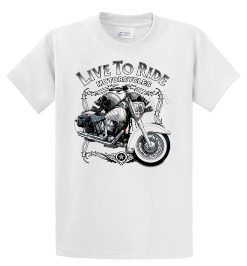 Live To Ride Motorcycles Printed Tee Shirt-1