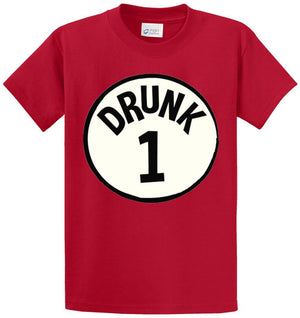 Drunk 1 Circle Printed Tee Shirt