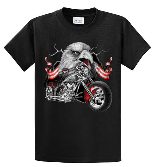 Eagle And Bike Printed Tee Shirt-1