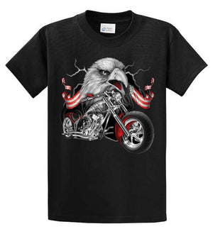Eagle And Bike Printed Tee Shirt