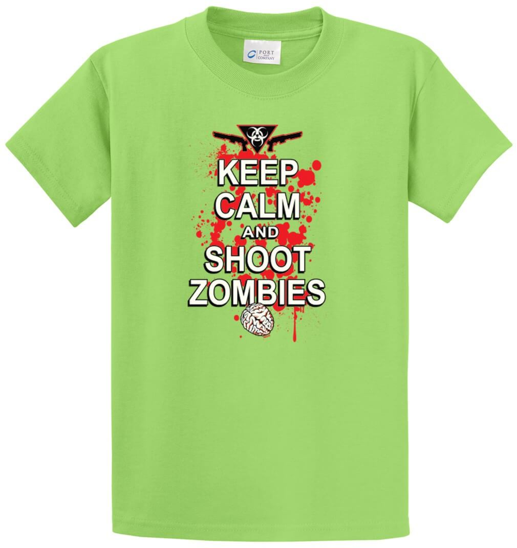 Keep Calm And Shoot Zombies Printed Tee Shirt-1