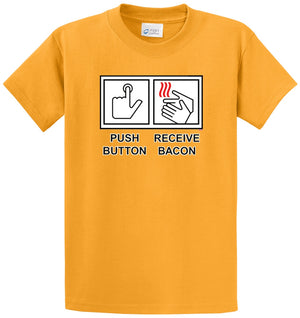 Push Button Receive Bacon Printed Tee Shirt