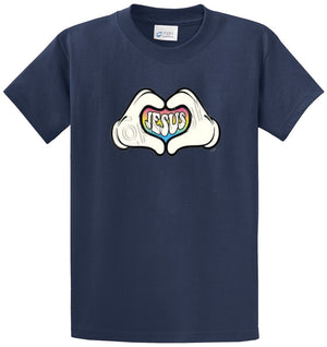 Cartoon Hands Heart Jesus Printed Tee Shirt