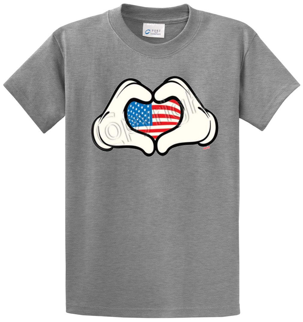 Cartoon Love Hand Usa Printed Tee Shirt-1