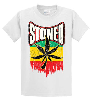 Stoned-Leaf And Flag Printed Tee Shirt