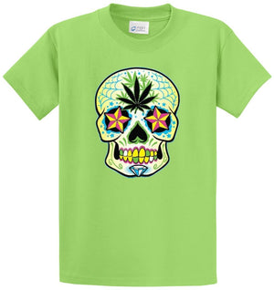 Sugar Skull W/Pot Leaf Printed Tee Shirt