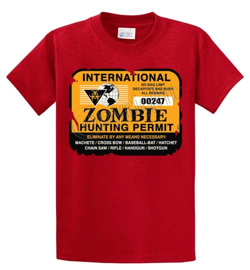Zombie Hunting Permit Printed Tee Shirt-1