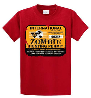 Zombie Hunting Permit Printed Tee Shirt