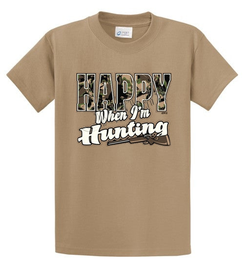 Happy When I'm Hunting Printed Tee Shirt-1