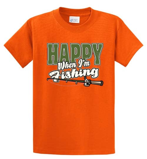 Happy When I'm Fishing Printed Tee Shirt-1