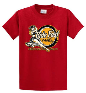 Ride Fast Cafe Printed Tee Shirt