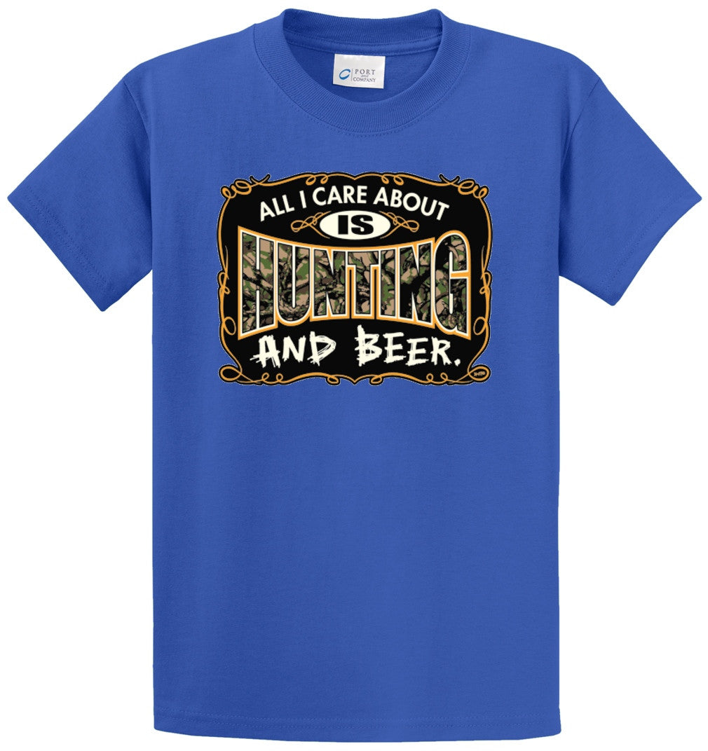 All I Care About Is Hunting And Beer Printed Tee Shirt-1