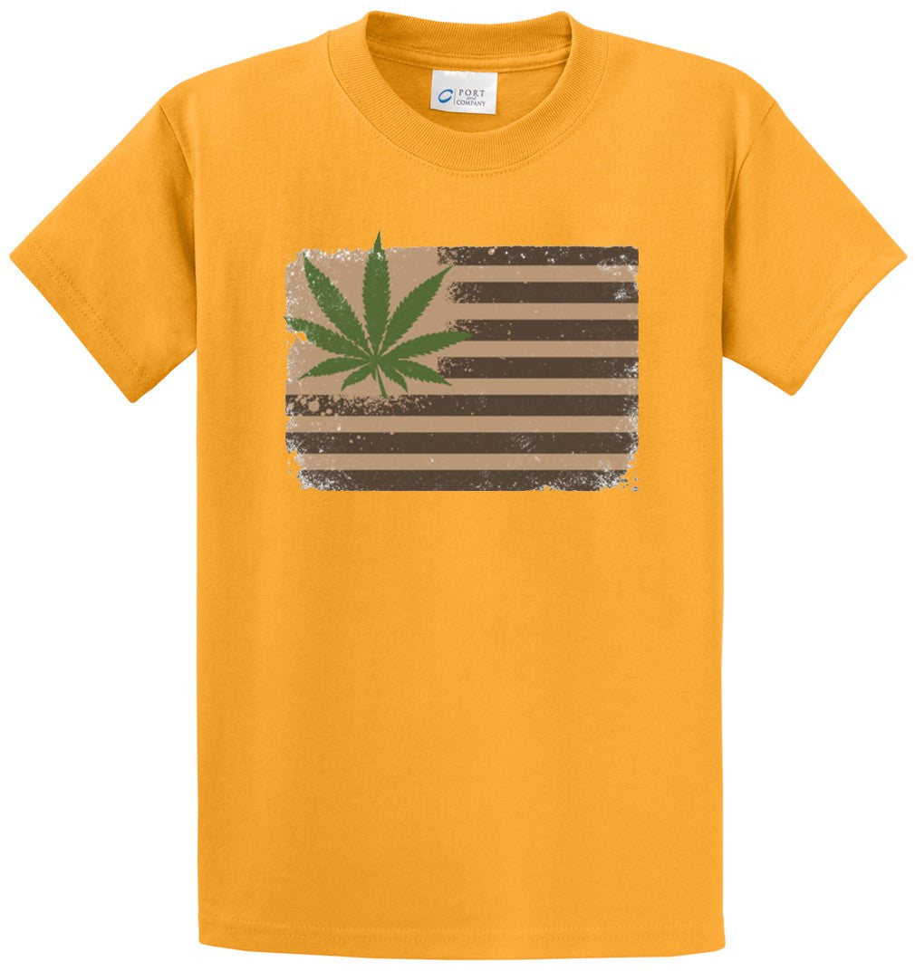 Pot Leaf Flag Printed Tee Shirt-1