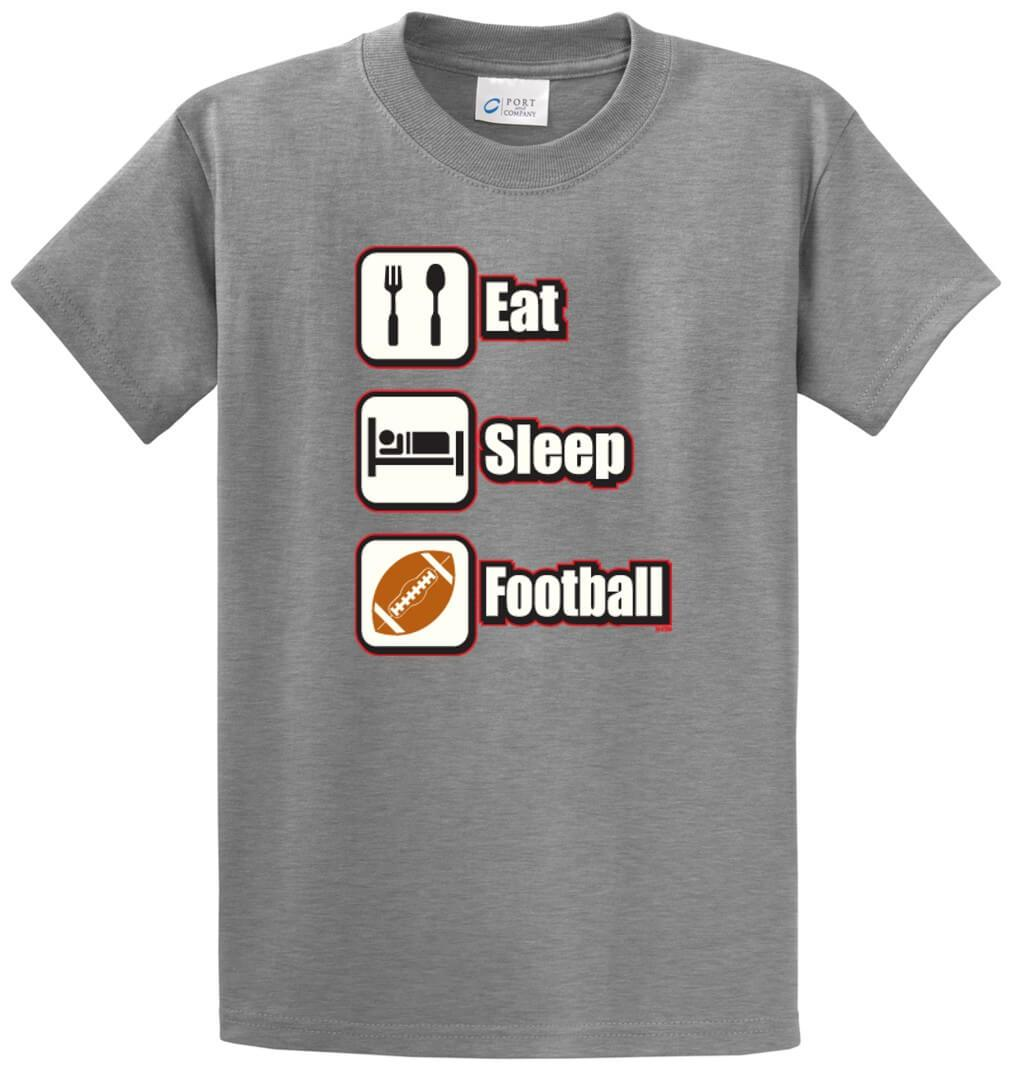 Eat Sleep Football (Color) Printed Tee Shirt-1