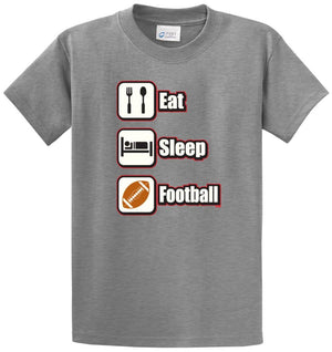 Eat Sleep Football (Color) Printed Tee Shirt
