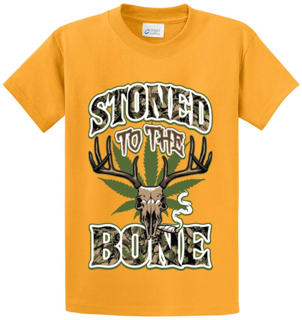 Stoned To The Bone Deer Skull Camo Printed Tee Shirt-1