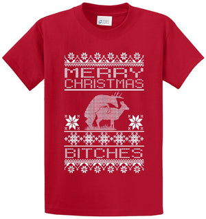 Merry Christmas Bitches Printed Tee Shirt