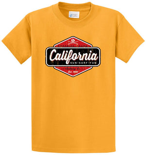Paradise Found California Sun Surf Fun Printed Tee Shirt