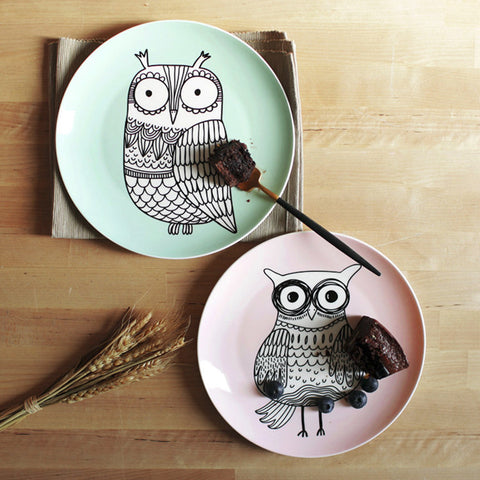 Lotus Blue Owl Plates
